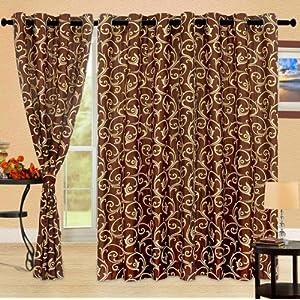 Cortina Bamboo CoffeePolyester Fabric Window Curtain