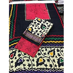 Shopping World Pure Cotton Batik Print Unstitched Dress Material(Red)