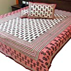 Little India Jaipuri Floral Block Print Cotton Double Bed Cover with 2 Pillow Covers - Multicolor  (DLI3DBS342)