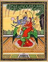 Exotic India Vishnu with Lakshmi Seated on His 'Vahana' Garuda - Water Color Painting on Paper - Art