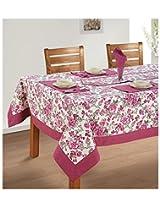 SWAYAM Cotton 8 Piece Kitchen Linen Set - Maroon & Grey