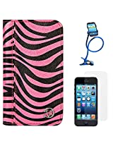 VanGoddy Zebra Print Mary Portfolio Self Stand Case Cover For Apple iPhone 5S / 5G (Pink) + Long Flexible Stand + Matte Screen