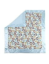 "My Blankee Monkey Zoo Minky Midnight w/ Minky Dot Blue Baby Blanket, 30"" x 35"""