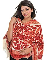Exotic India Stole from Kashmir with Ari-Embroidered Paisleys by Hand - Color Ivory And RedColor Free Size