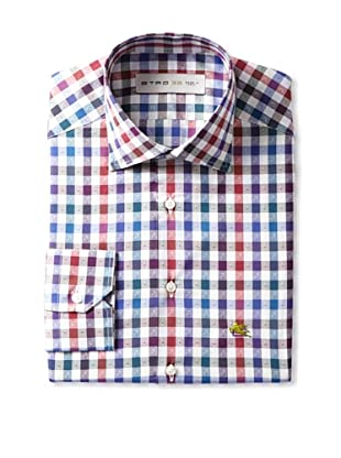 Etro Men's Spread Collar Checks with Paisley Long Sleeve Shirt (Multi)