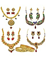 Surat Diamonds Set of 4 Traditional Red & Green Coloured Stone Fashion Jewellery Sets for Women (H1398)