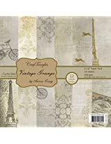 "CrafTangles Scrapbook and Craft Paper Pack - Vintage Grunge (Size 6""X6"") 12 Designs 24 Sheets For Card & Scrapbooking"
