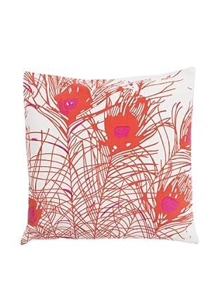 Surya Peacock Throw Pillow, Bright Rose
