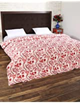 Trendy Hand Block Printed Cotton Quilt Double White Floral By Rajrang