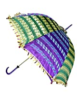 Indian Ethnic Silk Umbrella with Designer Embroidery work Parasol 30 X 34 Inches
