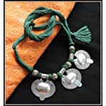 Oval Pendant Thread Necklace - Green