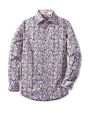 Report Collection Men's Floral Paisley Shirt (Black)
