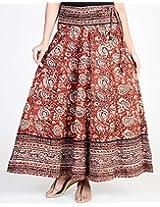 Cotton Kalamkari Placement Border Ghera Long Skirt-l-red