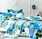 Story@Home Blue Artifical Flowers Polycotton Double Bedsheet with 2 Pillow Covers - King Size, Multicolor (EW1105)