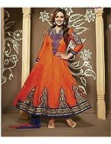 Esha Deol Orange Cotton Anarkali Suit