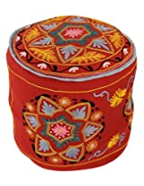 Gorgeous Round Red Ottoman Cotton Floral Embroidered Pouf Cover Decor By Rajrang