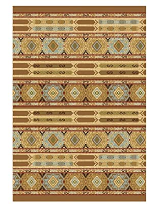 Ikat Tribal Casual Rug, Light Brown, 2' 5