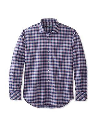 Zachary Prell Men's Tristan Checked Long Sleeve Shirt (Blue Combo)