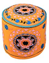 Handmade Ottoman Yellow Cotton Floral Embroidered Pouf Cover By Rajrang