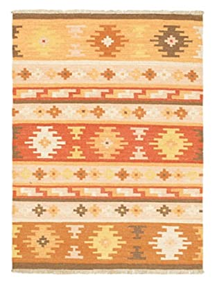 Hand Woven Istanbul Yama Wool Kilim, Beige/Light Orange, 4' 1