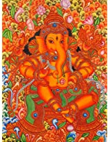 Exotic India Lord Ganesha in the Style of Mattanchery Palace Murals - Kerala Mural