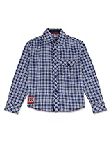 Full Sleeved Smart Boys Check Shirt Blue