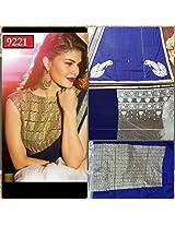 Jacqueline Fernandez Gerogette Blue Bollywood Replica Saree