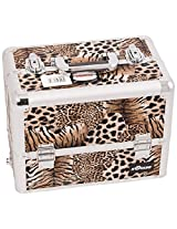 Craft Accents 6-Tiers Extendable Tray Professional Aluminum Cosmetic Makeup Case, Brown Leopard, 176 Ounce