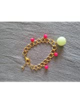 Knickknack Pretty Beaded Gold Bracelet, Pink