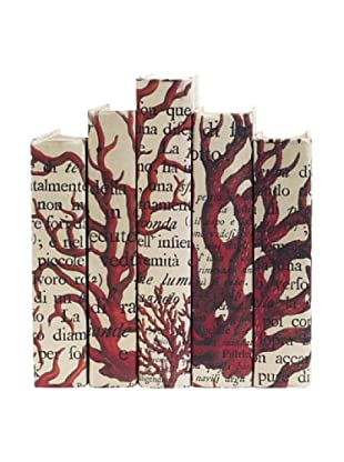 By Its Cover Hand-Rebound Set of 5 Red Coral Decorative Books, II