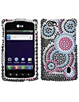 Aimo LGMS695HPCDM015NP Dazzling Diamante Bling Case for LG Optimus M+ MS695 - Retail Packaging - Bubble