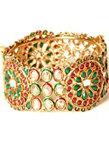 Exotic India Tri-Color Floral Polki Bangle with Cut Glass - Copper Alloy with Glass