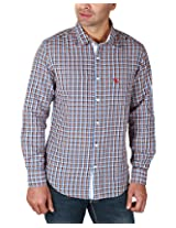 REIGN OF FASHION Men's Casual Shirt (500025, Lavender Mix Checks, 3X-Large)