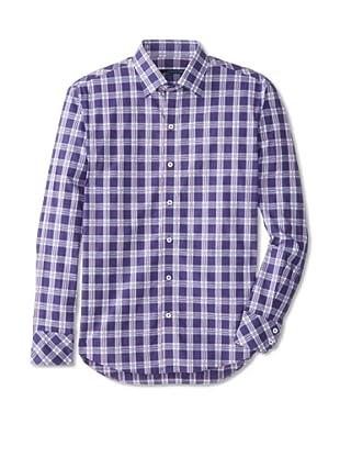 Zachary Prell Men's Kridel Checked Long Sleeve Shirt (Purple Combo)