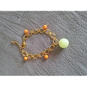 Knickknack Pretty Beaded Gold Bracelet, Orange