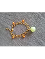 Knickknack Pretty Beaded Gold Bracelet, Orange