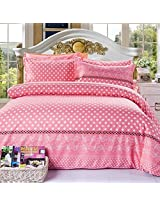 4pcs Dot Pattern Paint Printing Cotton Blend Bedding Set Full Size