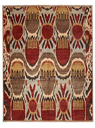 Darya Rugs Ikat Oriental Rug, Sky Blue/Red, 7' 10