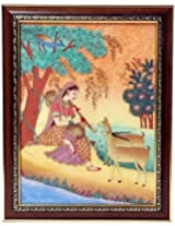 Fecom Meera Playing Sitar Gemstone Painting (22.7 Cm X .2 Cm X 32.9 Cm, Brown)