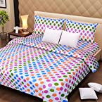 Handloomdaddy Cotton Design Double Bedsheet With 2 Pillow Cover-rainbowdots