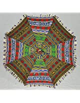 Lalhaveli Indian Ethnic Umbrella Graced With Embroidery Work Cotton Parasol