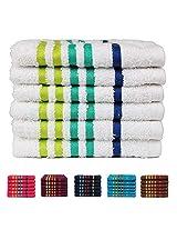 Casa Copenhagen 475 GSM 100 % Combed Cotton EXOTIC 6 Pcs Face Towels Set - White (Baby wash cloths)