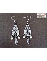 Under the Feather Silver Teardrop Danglers Earring