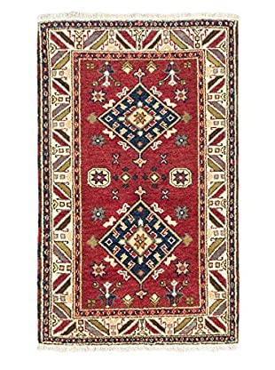 Hand-Knotted Royal Kazak Wool Rug, Dark Red, 3' 2