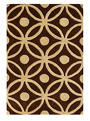 Znz Rugs Gallery Handmade Tufted New Zealand Blend Wool Rug (Chocolate Brown/Tan)