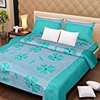 Handloomdaddy Cotton Design Double Bedsheet With 2 Pillow Covers - Light Green Patch
