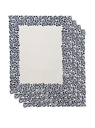 Couleur Nature Set of 4 Scroll Placemats, Navy