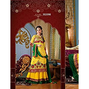 Bollywood Replica Designer Wear Yellow Coloured Neck Floor Touch Anarkali Suit Worn By Lara Dutta