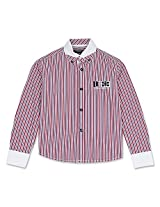 Full Sleeve Button Down Striped Boys Shirt Red