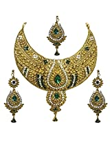 Unicorn's Designer Necklace Set with Antique Golden Polish - UEPRDP01G (Green)